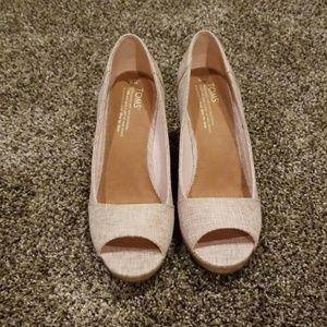 Tom's Stella pale pink lurex woven size 9 shoes